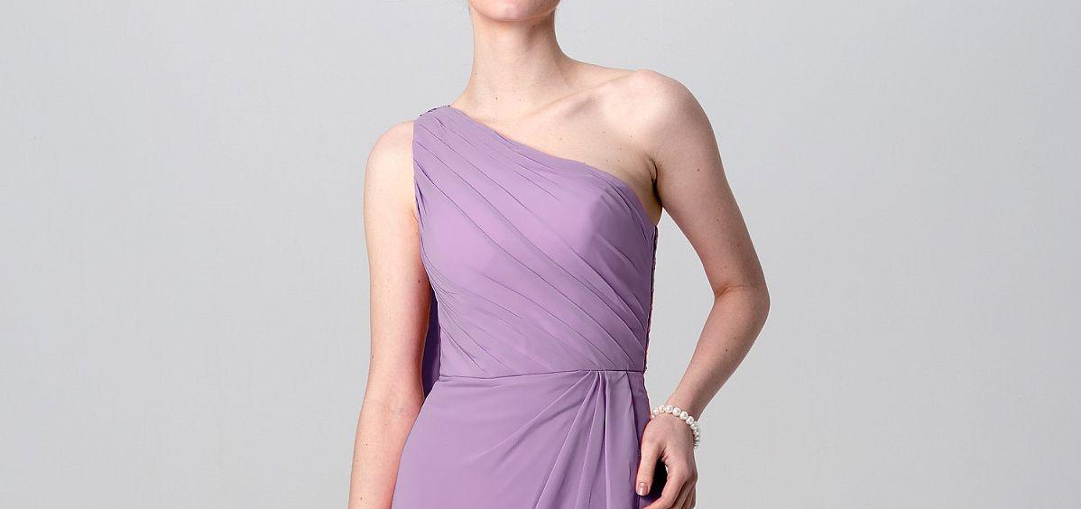 one shoulder ruched purple bridesmaid dresses