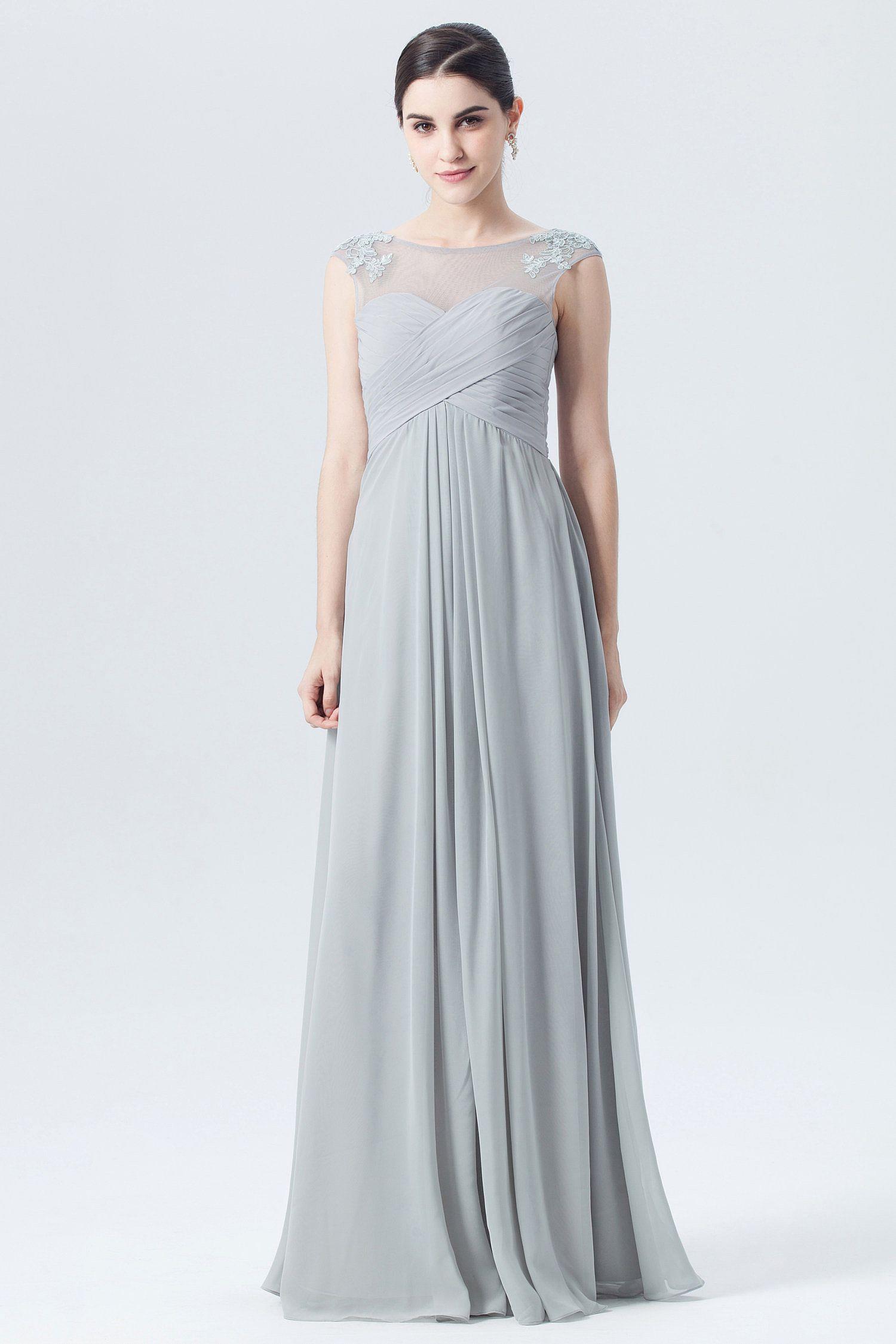 14eeba7f84a3a Long Silver Chiffon Bridesmaid Dresses - raveitsafe