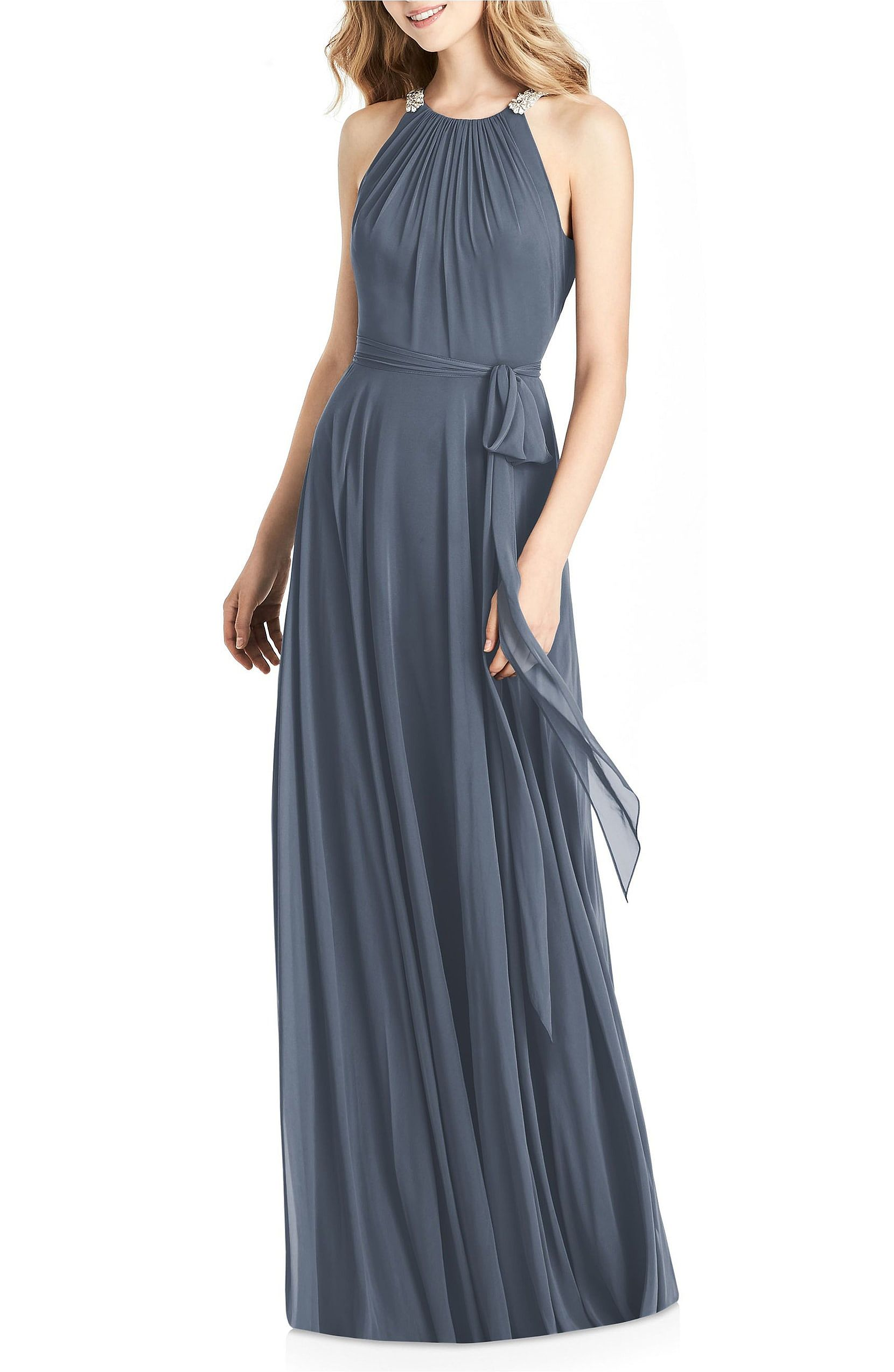 Beaded Grey Halter Ruched Bridesmaid Gowns