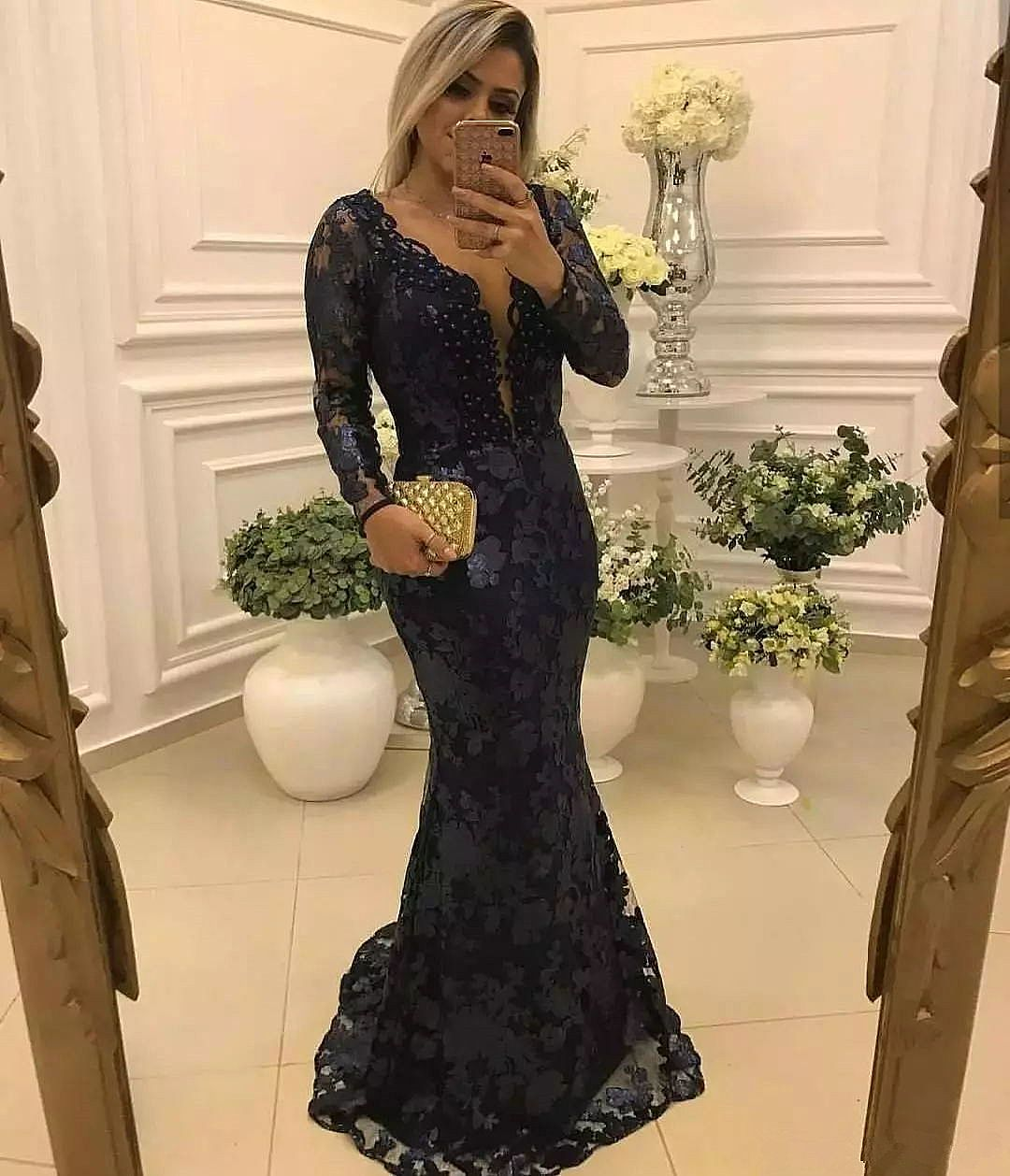 104519a7cd Sexy Blue Lace Mother of The Bride Groom Dresses
