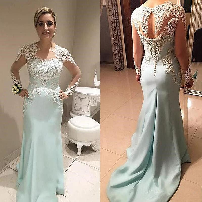 Mint Satin Mother of the Bride Dresses Wedding Guest Gowns