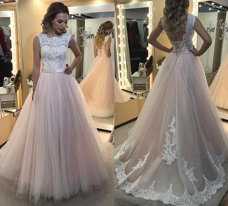 Pink Tulle Prom Gowns with Lace Up Back