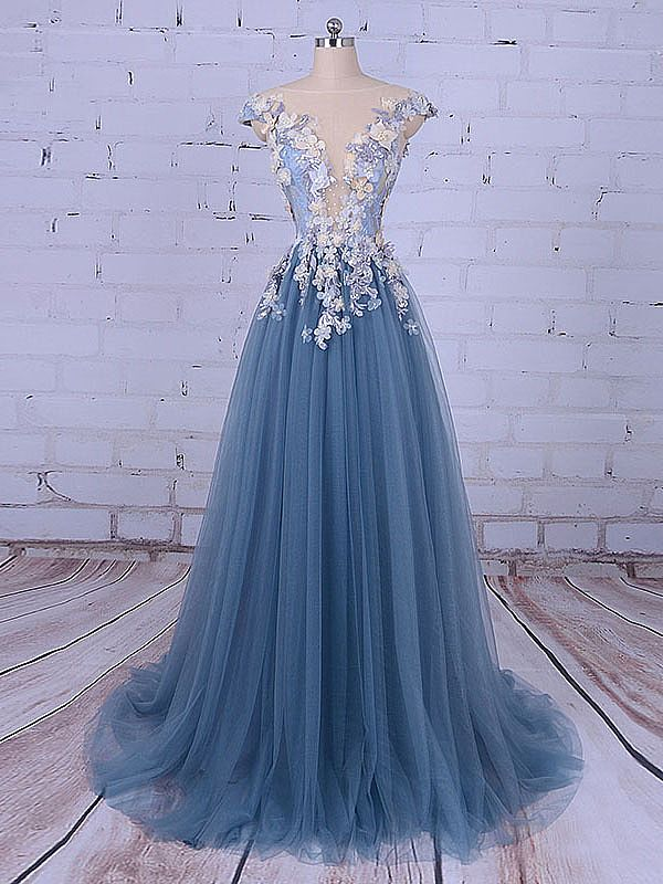 Chic Puffy Blue Evening Dress With Beading Flowers