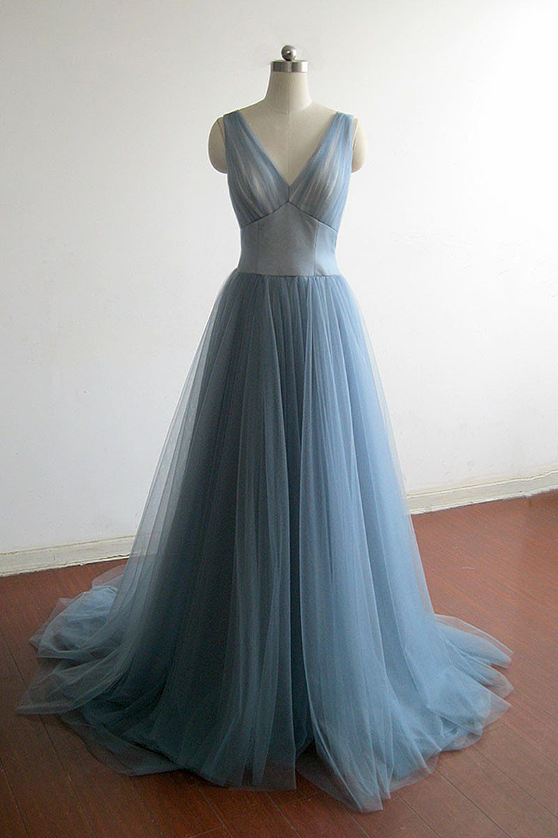 Blue Grey Puffy A-line Tulle Prom Dresses