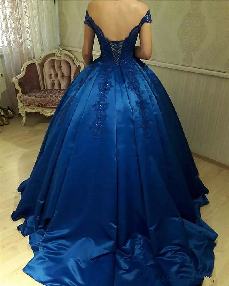 Navy Blue Pleated Ball Gown Prom Dresses