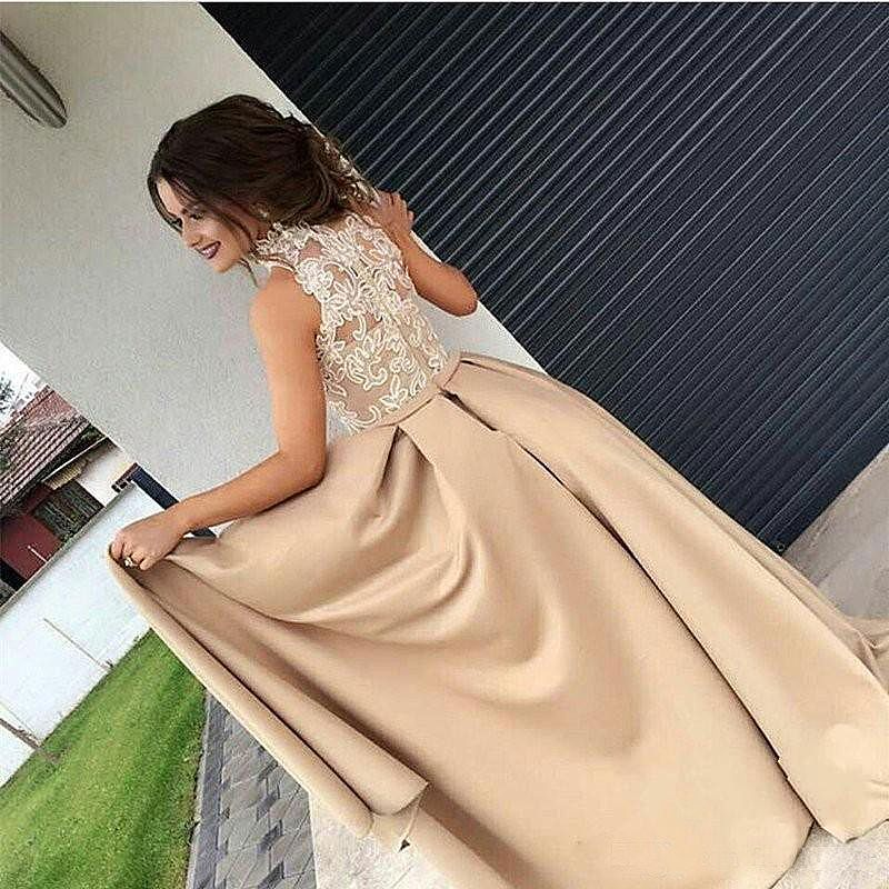 Champagne High Neck Dress