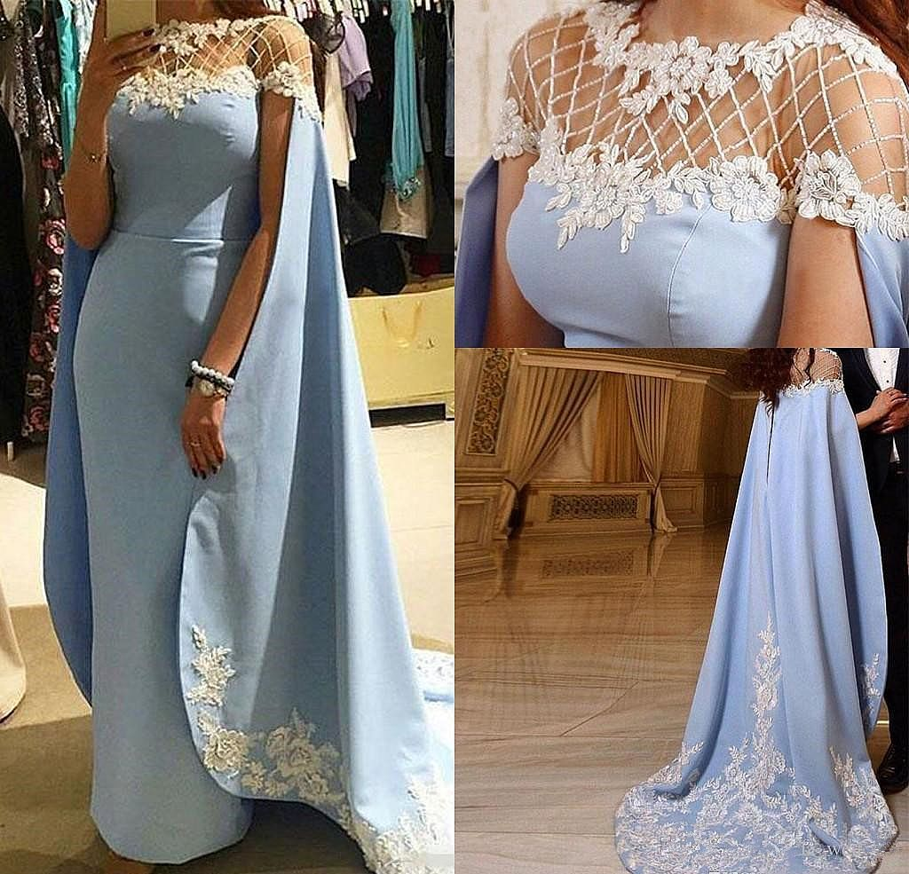 Sky Blue Evening Dresses with Cape Pageant Gowns