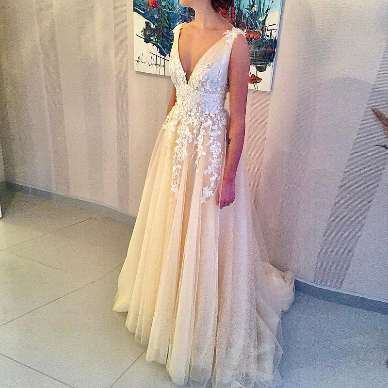 Light Champagne Prom Evening Dress Plunging Neckline With Straps