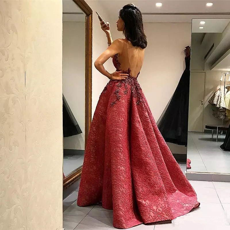 e418c253cdf Stunning Red Pleated Ball Gown Prom Dress