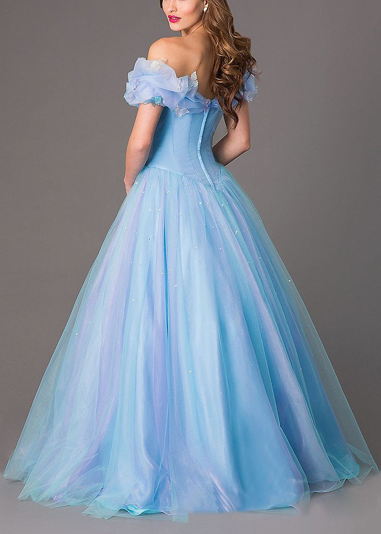 Cinderella Blue Tulle Ball Gowns Off the Shoulder