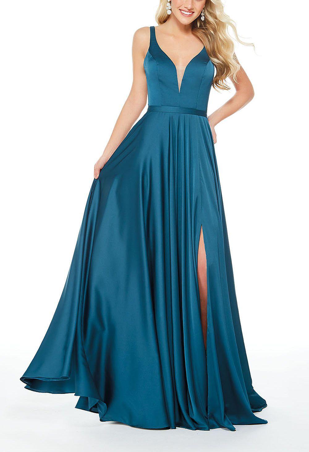 Gorgeous Flowy Side Slit Prom Dresses with Deep V-Neck
