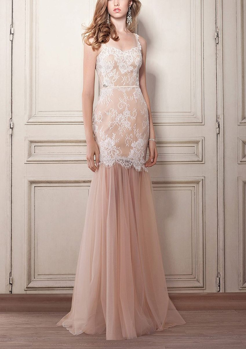 Champagne Formal Evening Gowns with Detachable Tulle Skirt