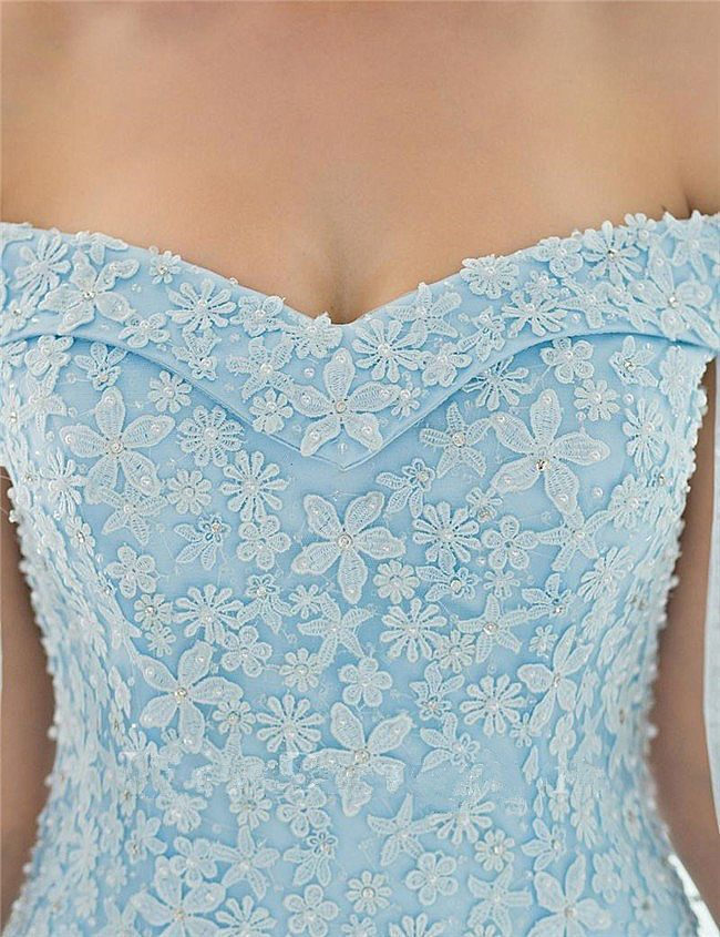 b90f1df3b44 Light Blue Floral Beaded Cape Prom Dress