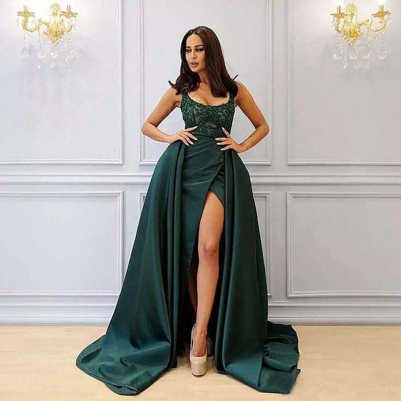 9571b38e4a Sexy High split Green Prom Dress with Detachable Overskirt