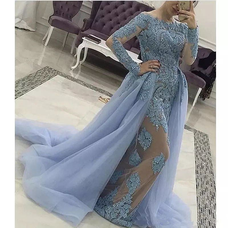 Blue Lace Beaded Evening Dress With Removable Skirt