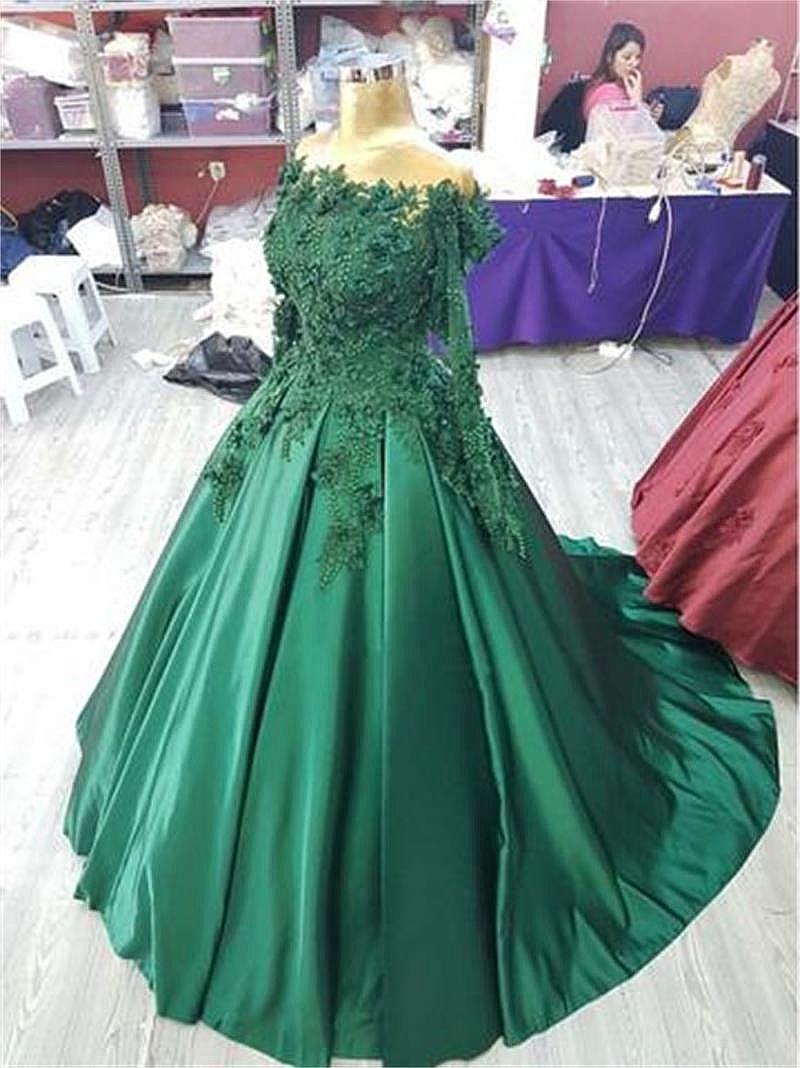 Stunning Green Satin Ball Gown Prom Dress