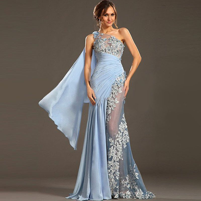 Ruched See Through One Shoulder Evening Gowns
