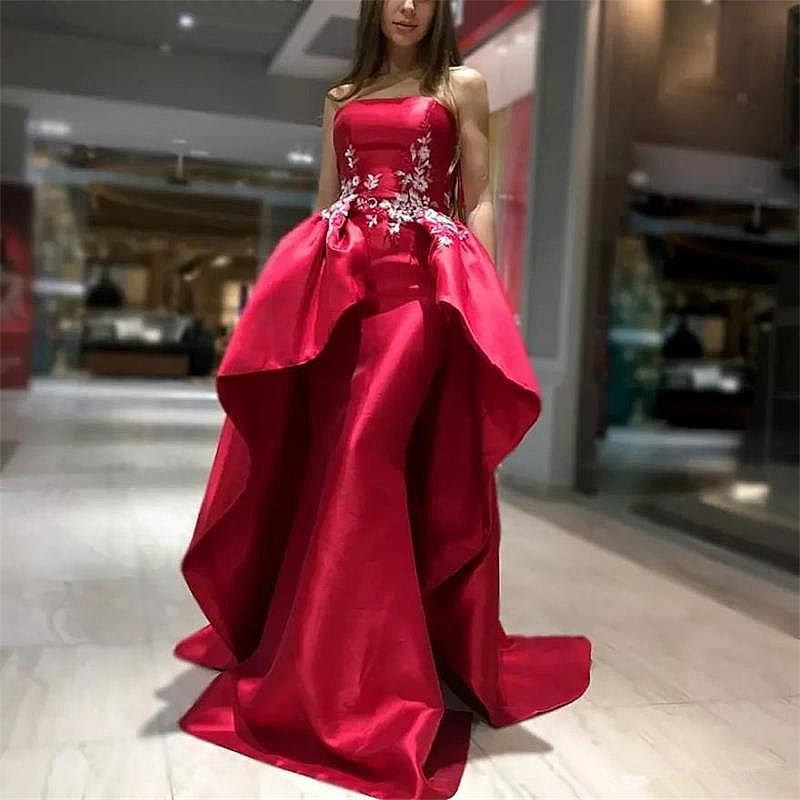 Strapless Red Evening Dress Pageant Gowns with Overskirt
