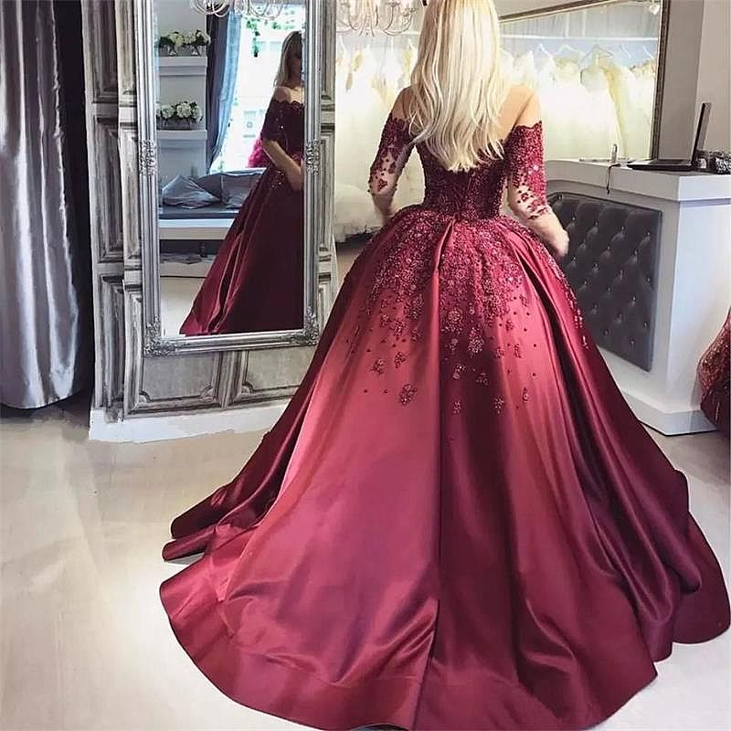 d558c79c56f Wine Red Beading Appliqued Ball Gown Prom Dress