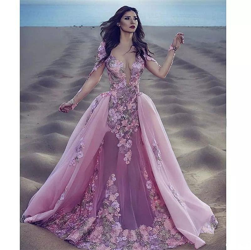 Designer Pink Flower Prom Dress with Detachable Train