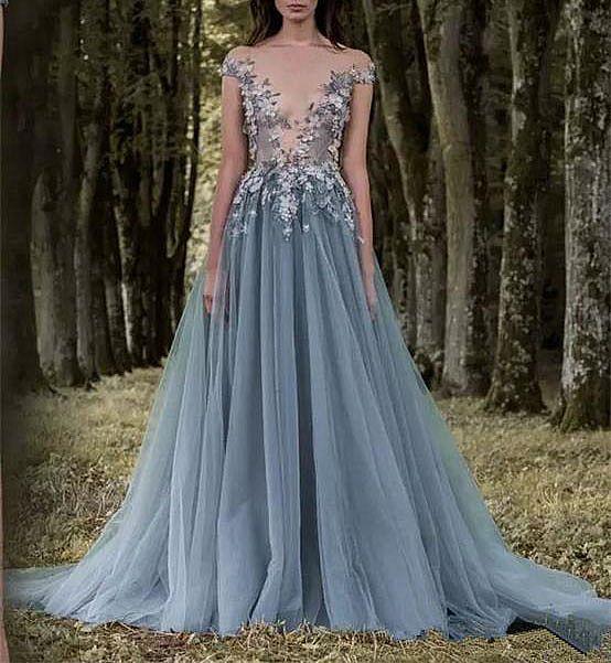 Designer Blue Gray Floral Appliqued Evening Gowns