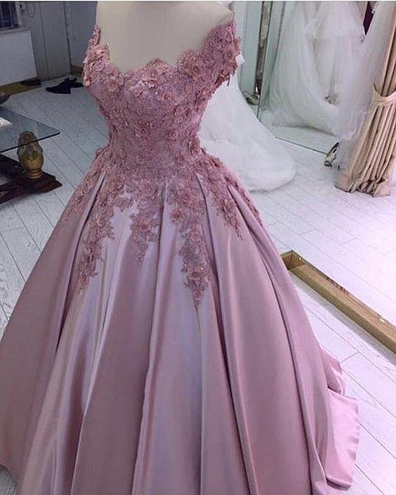 a85124bb185d Off Shoulder Pink Floral Appliqued Evening Gowns