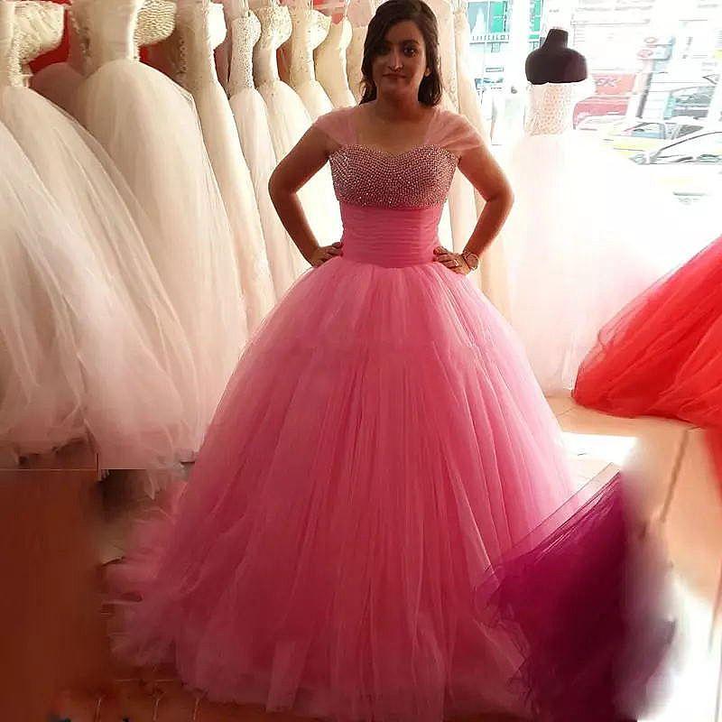 Pink Ball Gown Evening Dress Quinceanera Gowns