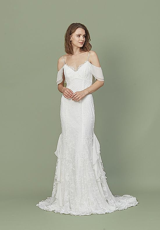Casual Beach Wedding Gowns with Spaghetti Straps