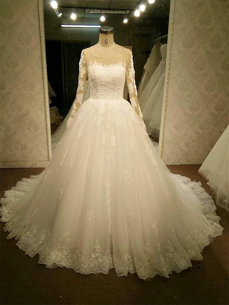 Long Sleeves Lace Wedding Gowns Sheer Back With Pearls