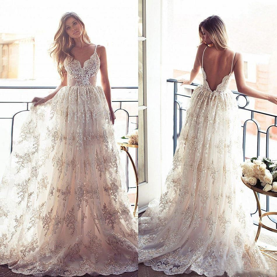 Boho Wedding Dresses with Spaghetti Straps Bridal Gowns