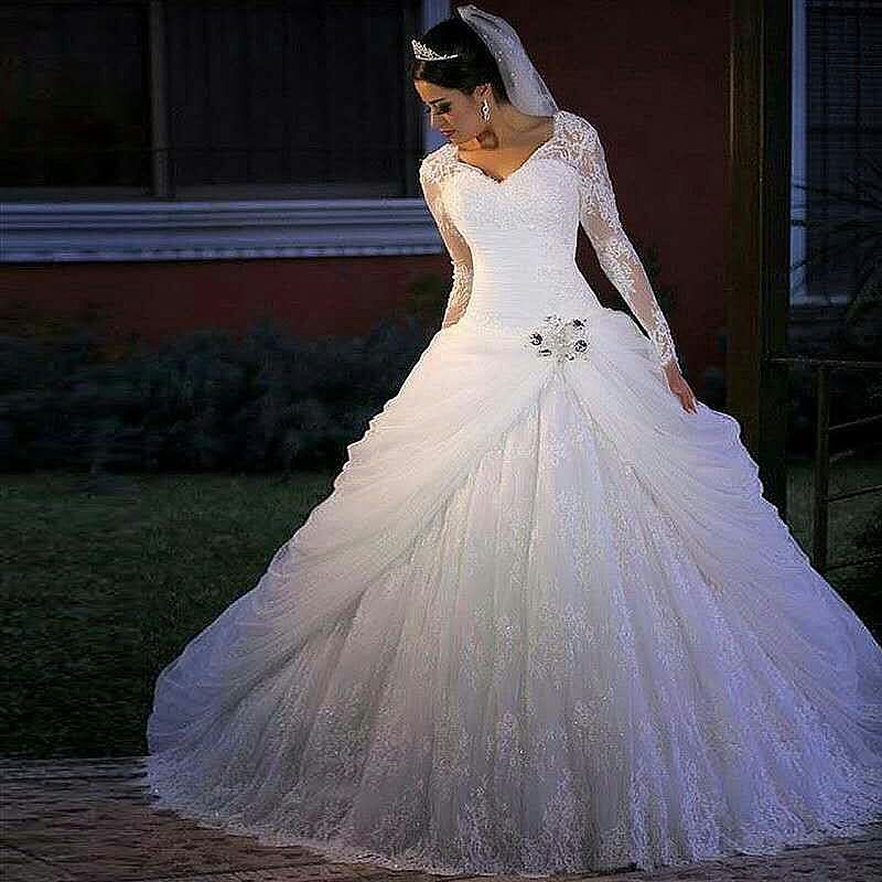 Designer Ruched Lace Ball Gown Wedding Dress