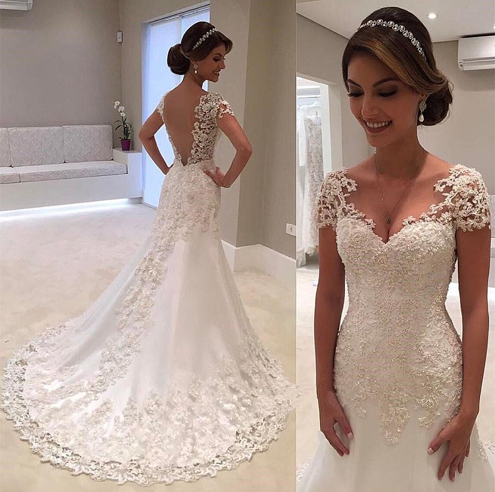Simple and elegant lace wedding dress with short sleeves for Simple elegant short wedding dresses