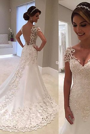 Simple And Elegant Lace Wedding Dress With Short Sleeves