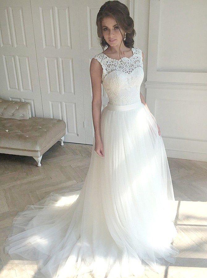 Elegant Puffy Wedding Dress with V-Cut Lace Up