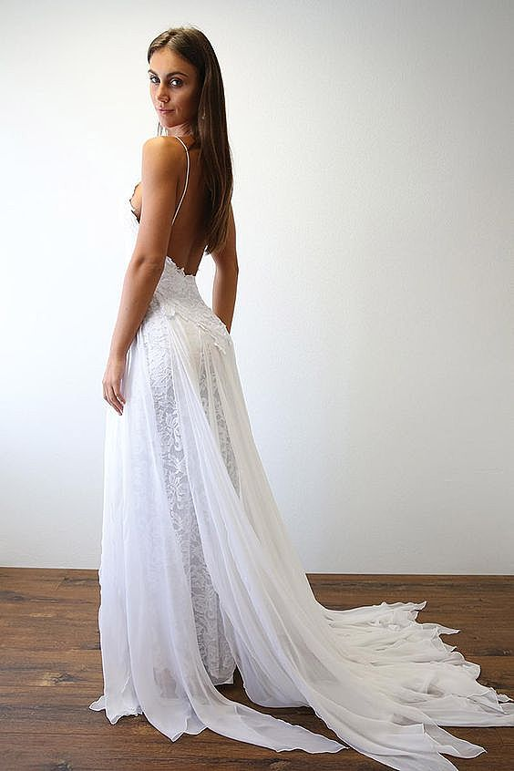 Sexy High Split Boho Beach Wedding Dresses