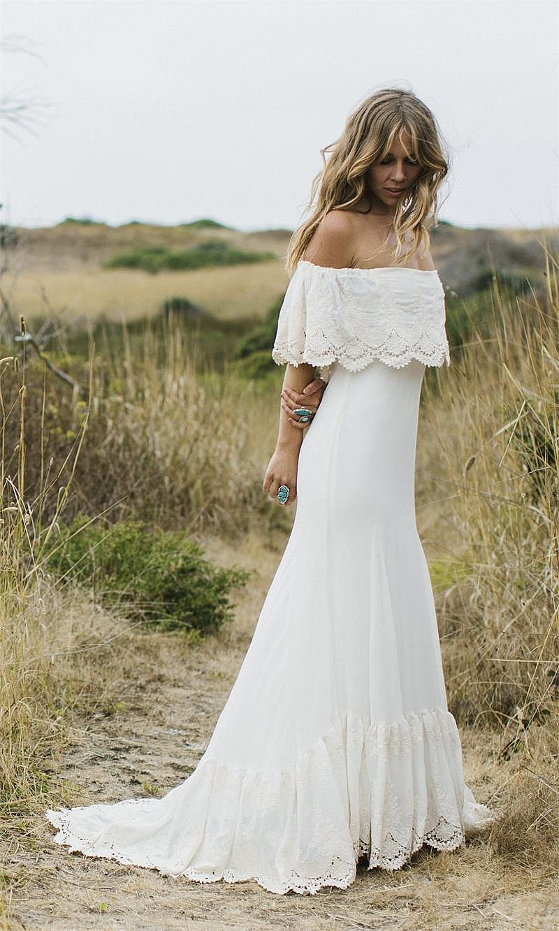 Designer Sexy Bateau Boho Beach Wedding Dress