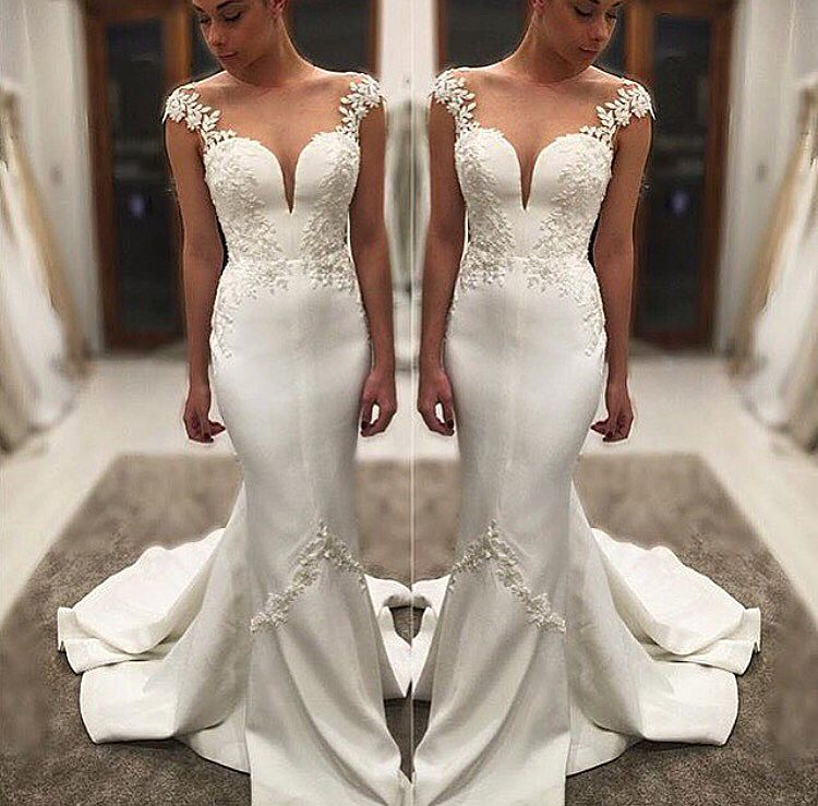 a38478ef336e Sexy Satin Mermaid Wedding Dresses with Straps 2018