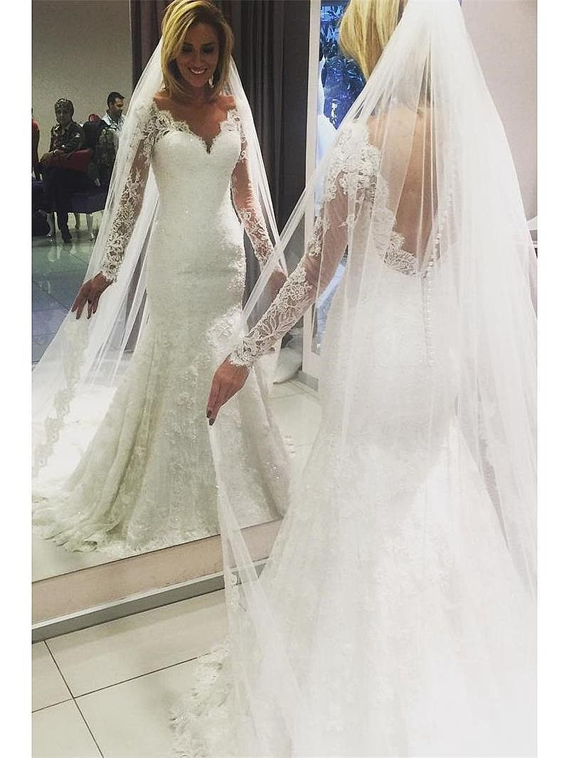 Dream Lace Wedding Dresses with Sheer Long Sleeves