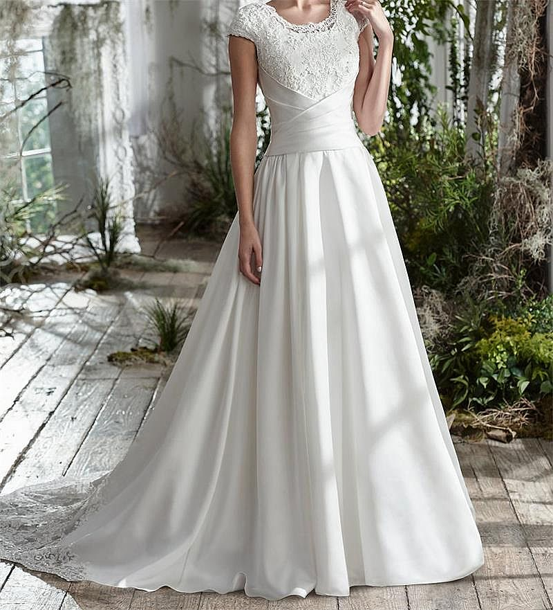 Simple Pleated Satin Wedding Dresses With Short Sleeves