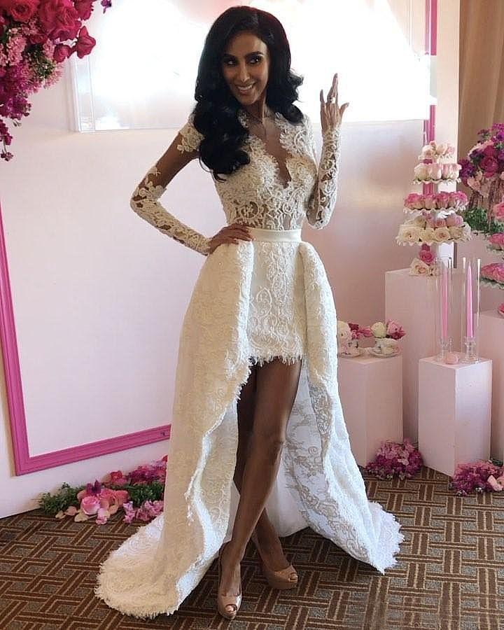 Summer Beach Wedding Dresses With Overskirt Long Sleeves
