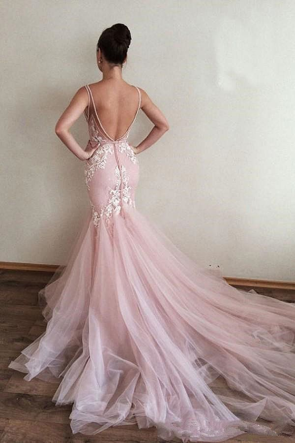 2018 Stunning Blush Pink Wedding Dresses Backless
