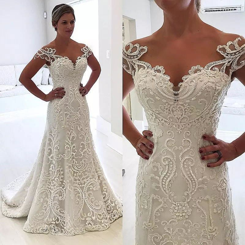 26ebc70aa0d Delicate Embroidery Applique Mermaid Wedding Dresses