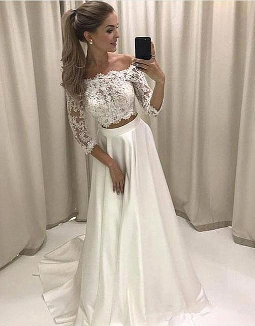 Simple Two Pieces Summer Beach Wedding Dresses