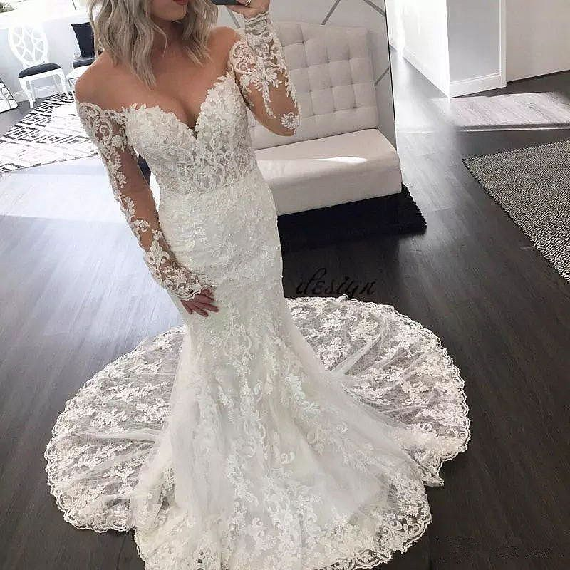 Off Shoulder Lace Beaded Wedding Gowns 2018