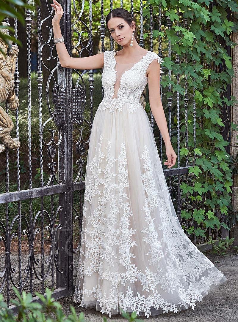 Beautiful Plunging Neckline Backless Garden Wedding Dresses