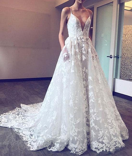 Delicate Floral Applique Summer Garden Wedding Dresses - Garden Wedding Dresses