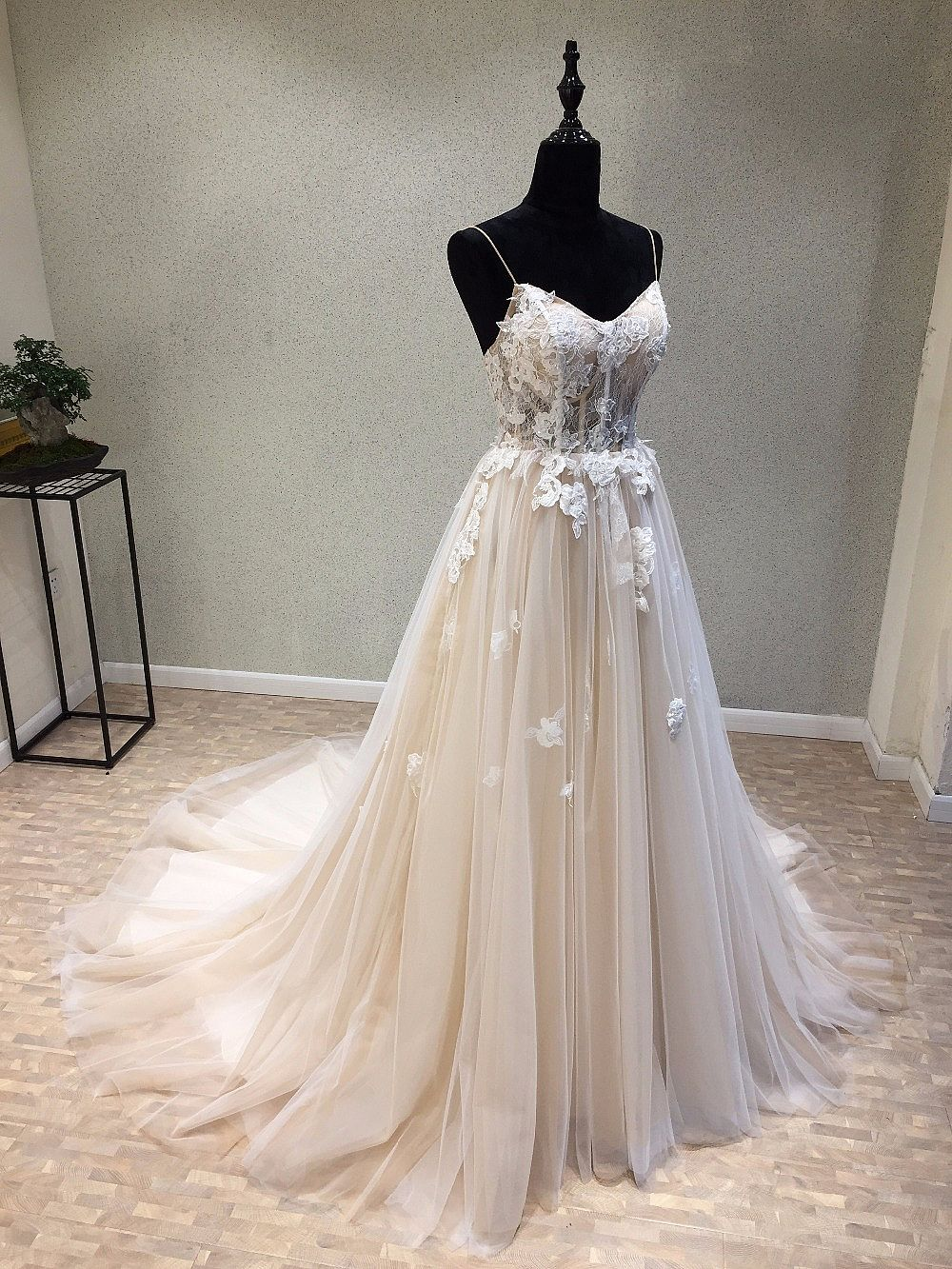 New Tulle A Line Wedding Dress With Lace Up Back