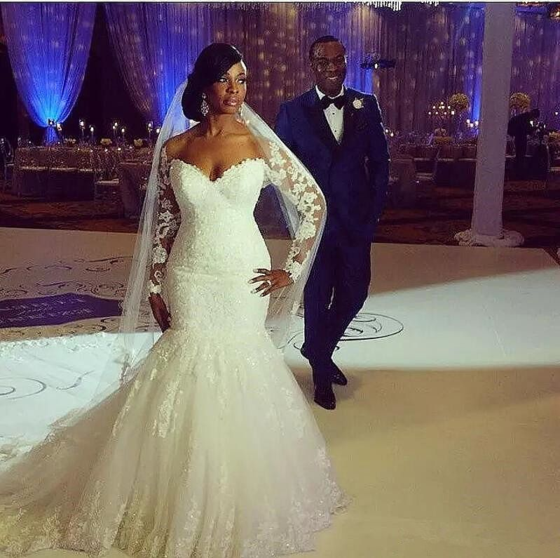 African lace mermaid wedding dresses with long sleeves for African lace wedding dress