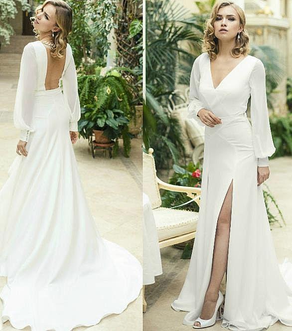 Side Slit Crepe Wedding Dress with Long Sleeves