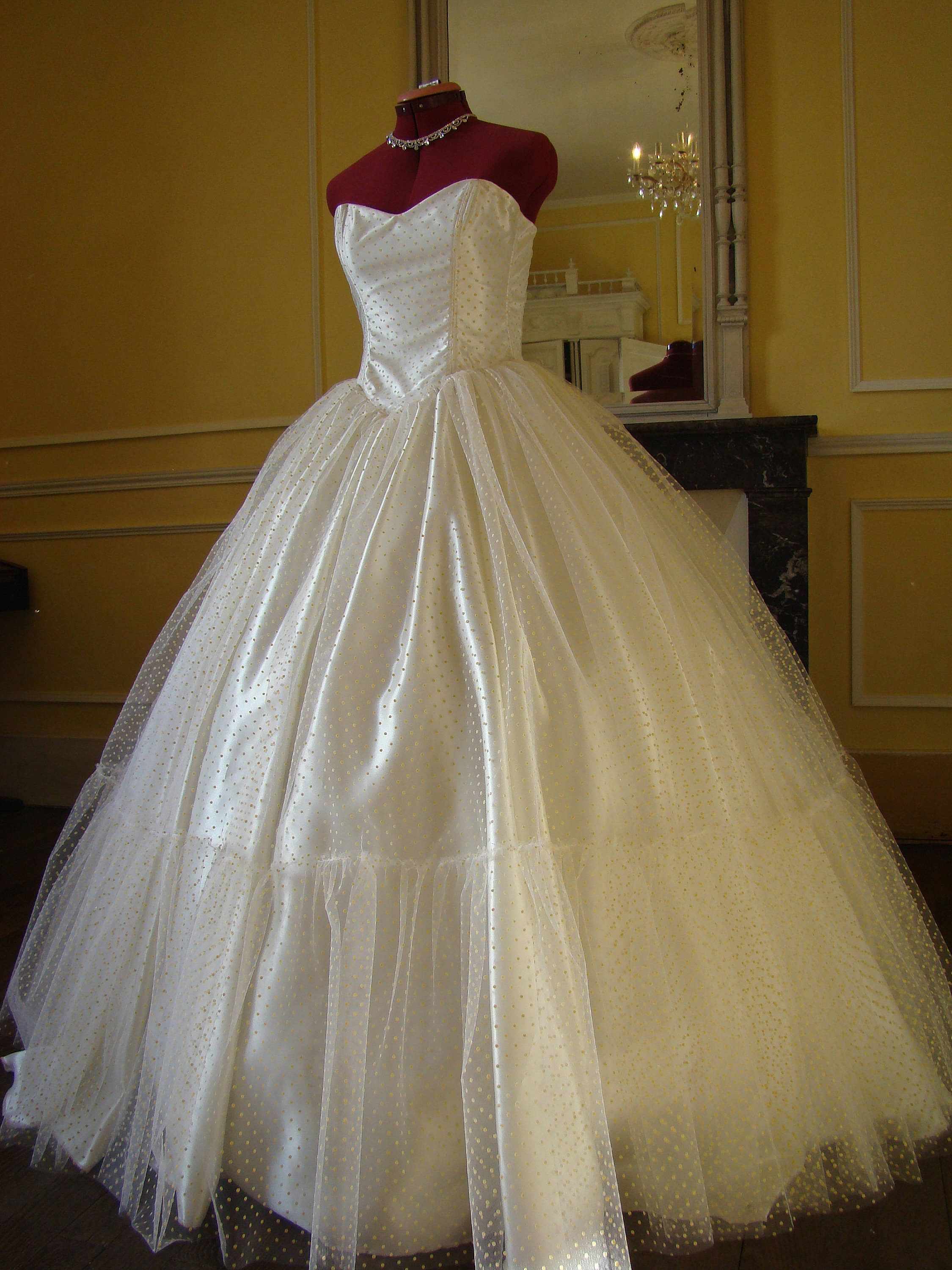 Princess Dotted Tulle Ball Gown Wedding Dress